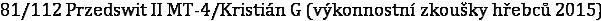 81/112 Przedswit II MT-4/Kristián G (výkonnostní zkoušky hřebců 2015)